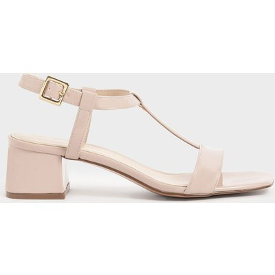 Patent T-Bar Block Heel Sandals