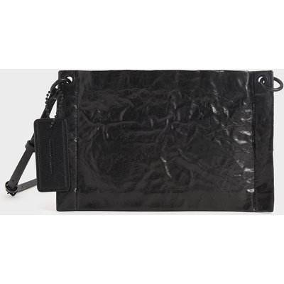 Crumpled-Effect Zip Clutch