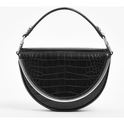 Croc-Effect Top Handle Semi-Circle Bag