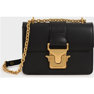 Double Handle Metallic Push-Lock Shoulder Bag