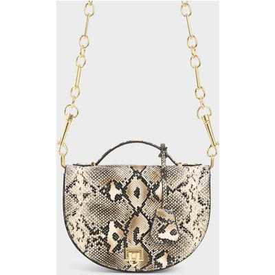 Snake Print Top Handle Saddle Bag