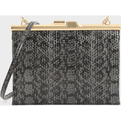 Snake Print Square Clutch