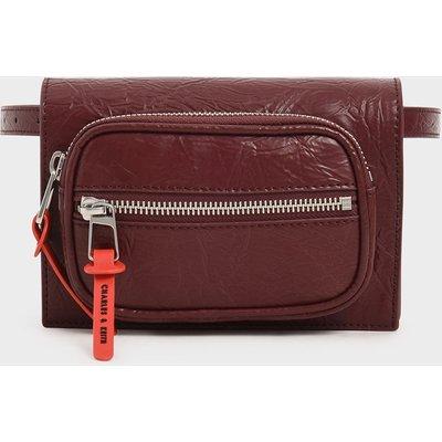 Wrinkled Effect Mini Rectangle Crossbody Bag