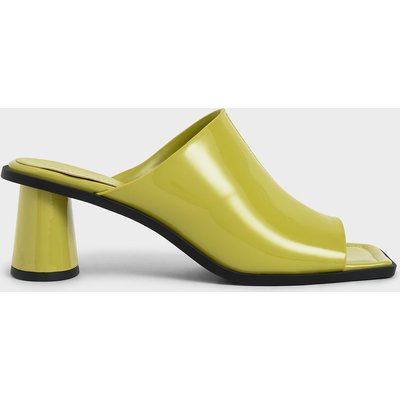 Peep Toe Patent Mules