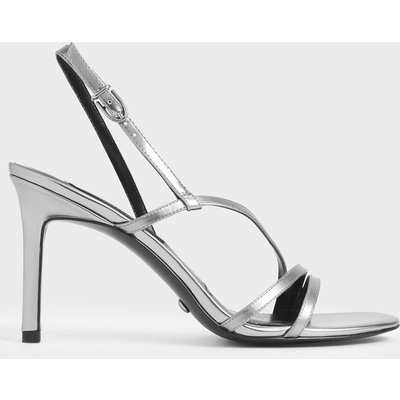 Mirror Metallic Leather Strappy Heeled Sandals