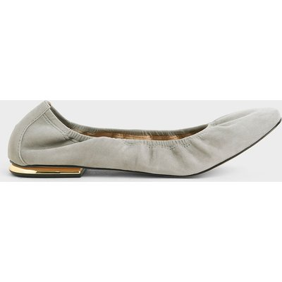 Ruched Ballerina Flats (Kid Suede)