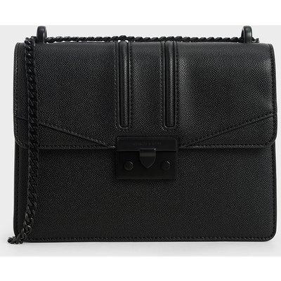 Metallic Push-Lock Shoulder Bag