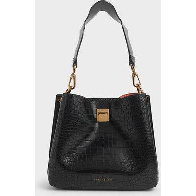 Croc-Effect Bucket Shoulder Bag