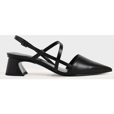 Strappy Trapeze Heel Court Shoes