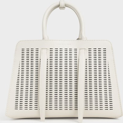 Large Laser-Cut Top Handle bag