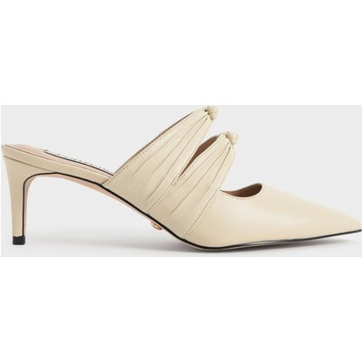 Leather Knot Detail Heeled Mules