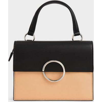 Two-Tone Ring Detail Top Handle Bag