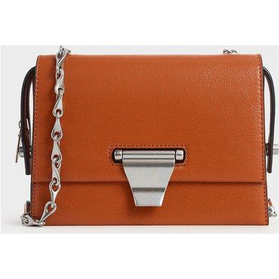 Metal Push-Lock Crossbody Bag