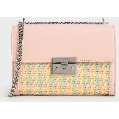 Woven Boxy Chain Strap Bag