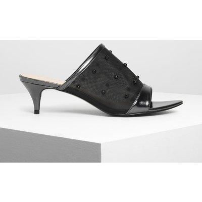 Embellished Mesh Kitten Heel Slide Sandals