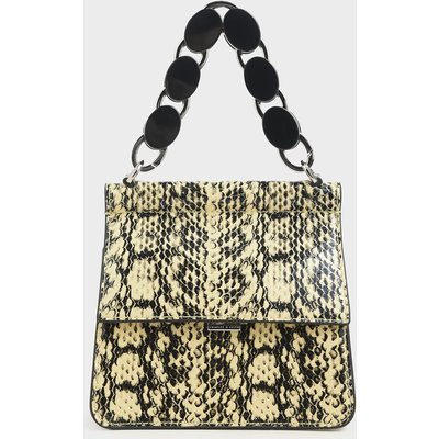 Small Snake Print Acrylic Tortoiseshell Top Handle Bag