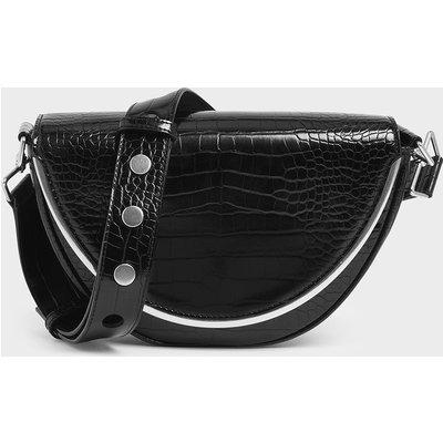 Croc-Effect Semi-Circle Crossbody Bag