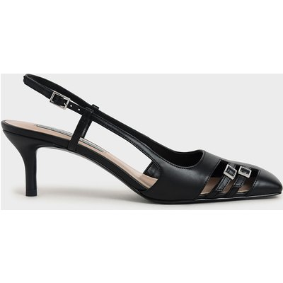 Cut-Out Buckled Slingback Court Shoes