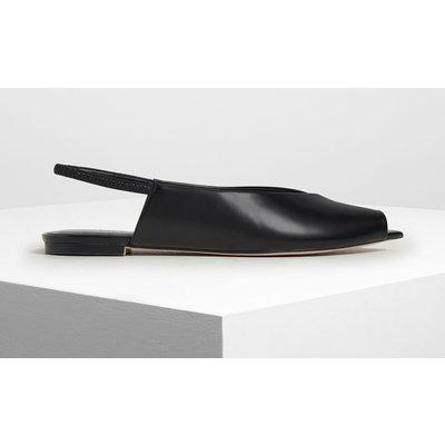 Pointed Peep Toe Slingback Flats