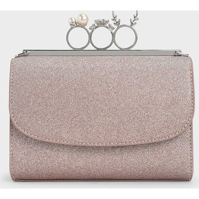 Glittered Knuckle-Ring Clutch