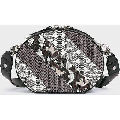 Snake Print Oval Crossbody Bag