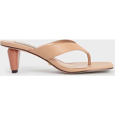 Leather Sculptural Heel Thong Sandals