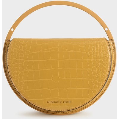 Croc-Effect Semi-Circle Clutch