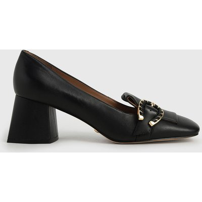 Leather Buckle Loafer Court Shoes