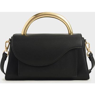 Angular Flap Metallic Top Handle Bag