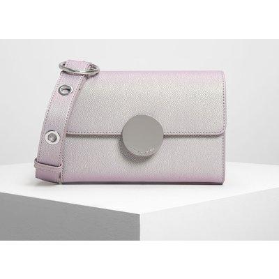 Circular Push Lock Crossbody Bag