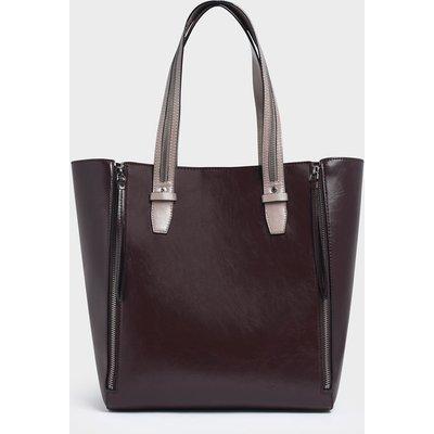 Two-Tone Double Zip Long Handle Tote Bag