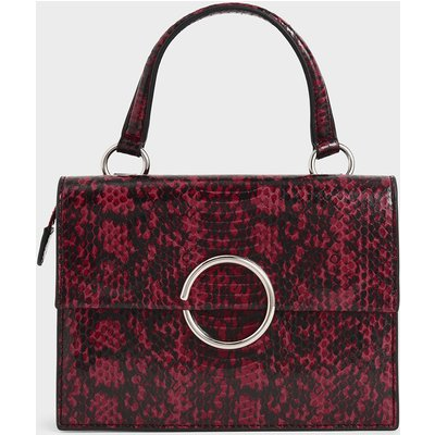 Snake Print Ring Detail Top Handle Bag