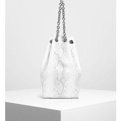 Chain Handle Snake Print Bucket Bag