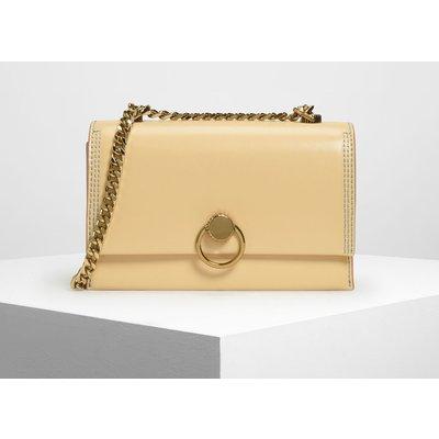 Chain & Strap Push Lock Shoulder Bag