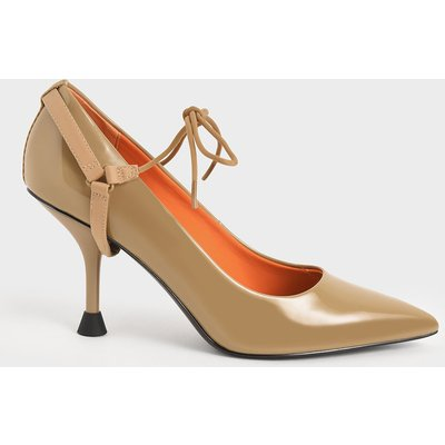Patent Ankle-Tie Court Shoes