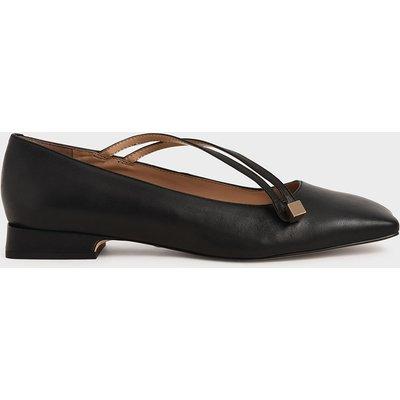Leather Asymmetric Strap Ballerina Flats