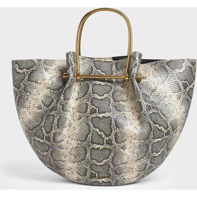 Snake Print Petal Fold Tote Bag