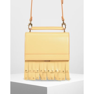 Fringe Trim Top Handle Bag