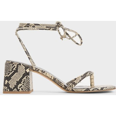 Snake Print Lace Up Block Heel Sandals