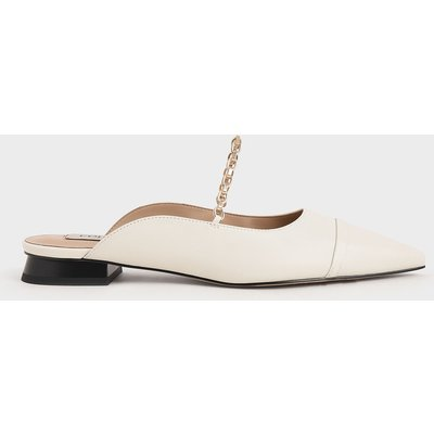 Leather Chain Link Flat Mules