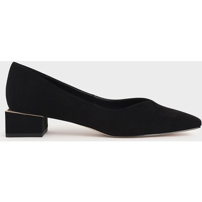 Textured Block Heel Court Shoes