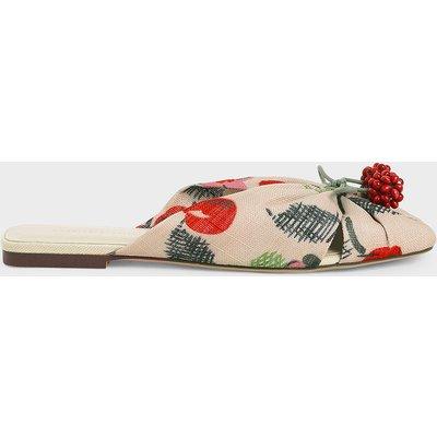 Cherry Embellished Peep-Toe Slide Sandals
