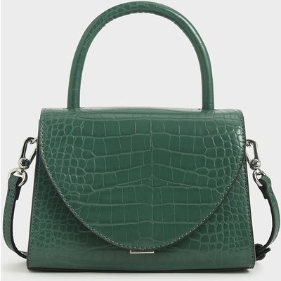 Croc-Effect Structured Top Handle Bag