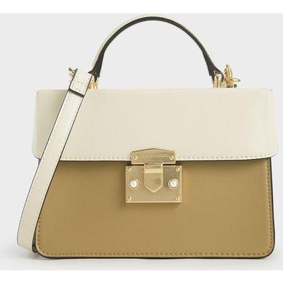 Two-Tone Metallic Push-Lock Handbag