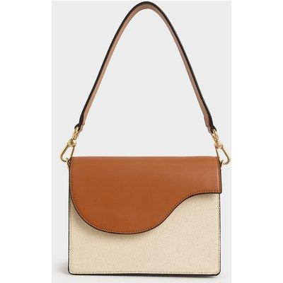 Two-Tone Angular Flap Shoulder Bag