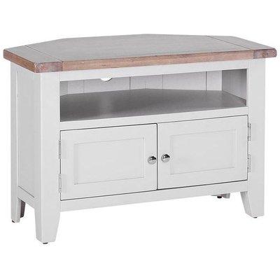 Chalked Oak and Light Grey 90 Degree Corner TV Unit - Besp Oak
