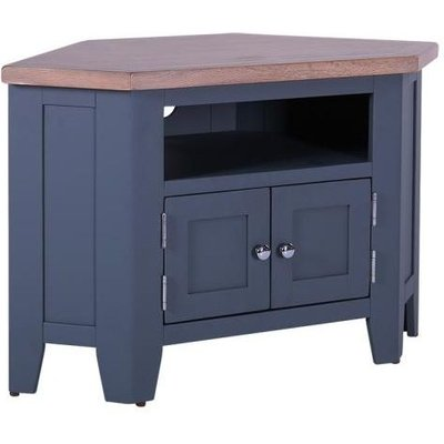 Chalked Oak and Downpipe Grey 90 Degree Corner TV Unit - DCW037A - Besp Oak