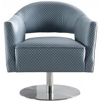 Grey Circle Stich Swivel Fabric Chair