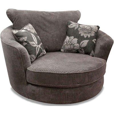 Buoyant Paris Lush Charcoal Fabric Snuggle Swivel Chair