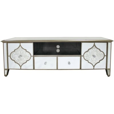 Morocco Antique Mirrored Entertainment Unit - 2 Drawer 2 Door